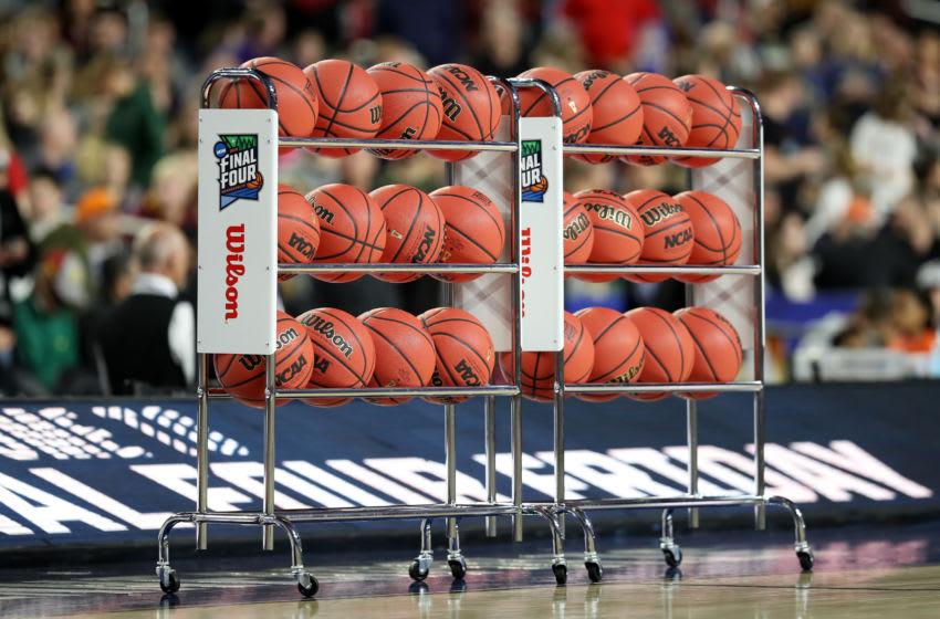 MINNEAPOLIS, MINNESOTA - APRIL 05: A rack of Wilson NCAA basketball sits on the court during practice prior to the 2019 NCAA men's Final Four at U.S. Bank Stadium on April 5, 2019 in Minneapolis, Minnesota. (Photo by Streeter Lecka/Getty Images)