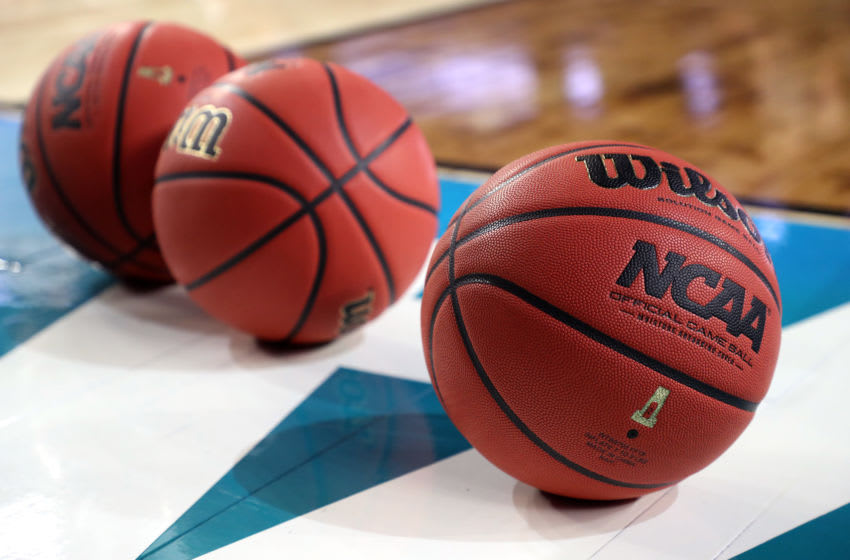 MINNEAPOLIS, MINNESOTA - APRIL 05: NCAA basketballs sit on the court during practice prior to the 2019 NCAA men's Final Four at U.S. Bank Stadium on April 5, 2019 in Minneapolis, Minnesota. (Photo by Streeter Lecka/Getty Images)