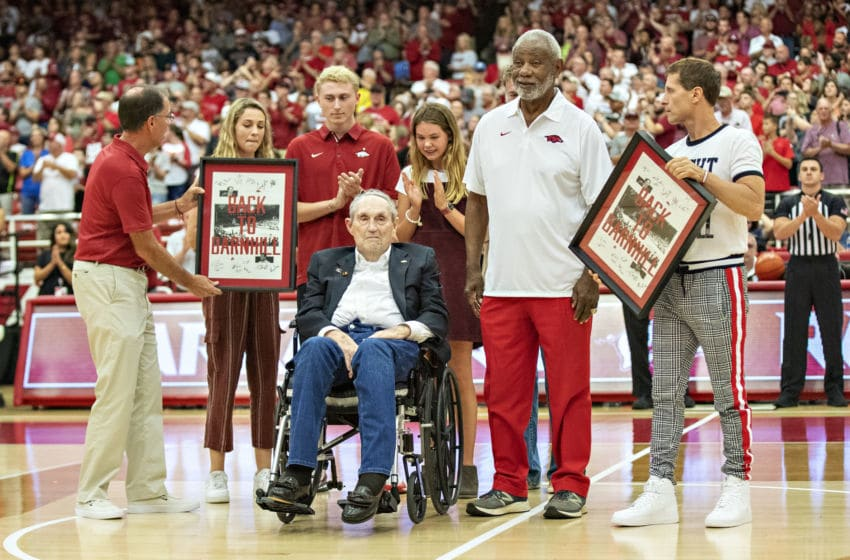 FAYETTEVILLE, AR - OCTOBER 5: Former Head Coaches Eddie Sutton and Nolan Richardson of the Arkansas Razorbacks are celebrated before the Red White Game at Barnhill Arena on October 5, 2019 in Fayetteville, Arkansas. (Photo by Wesley Hitt/Getty Images)