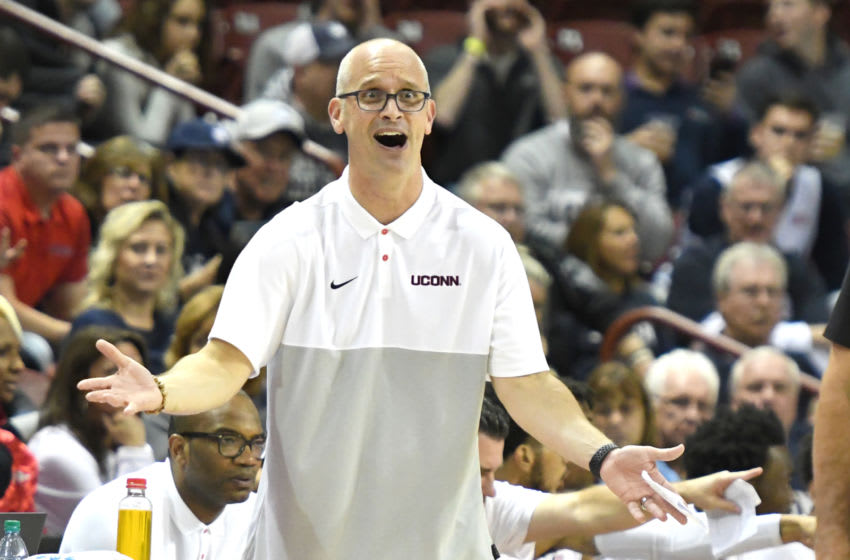 CHARLESTON, SC - NOVEMBER 21: Head coach Dan Hurley of the Connecticut Huskies reacts to a calls during a first round Charleston Classic basketball game against the Buffalo Bulls at the TD Arena on November 21, 2019 in Charleston, South Carolina. (Photo by Mitchell Layton/Getty Images)