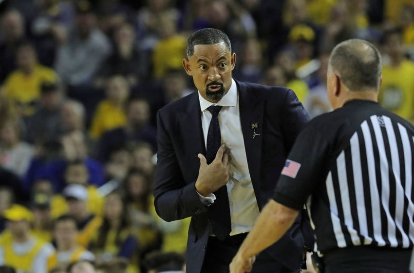 ANN ARBOR, MI - DECEMBER 6: Michigan Wolverines Head Coach Juwan Howard talks with the referee during the second half of the game against the Iowa Hawkeyes at Crisler Center on December 6, 2019 in Ann Arbor, Michigan. Michigan defeated Iowa 103-91. (Photo by Leon Halip/Getty Images)