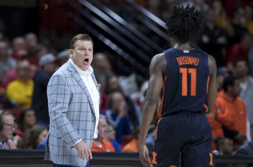 Illinois Basketball: COLLEGE PARK, MD - DECEMBER 07: Head coach Brad Underwood of the Illinois Fighting Illini speaks with Ayo Dosunmu #11 during the second half of the game against the Maryland Terrapins at Xfinity Center on December 7, 2019 in College Park, Maryland. (Photo by Scott Taetsch/Getty Images)
