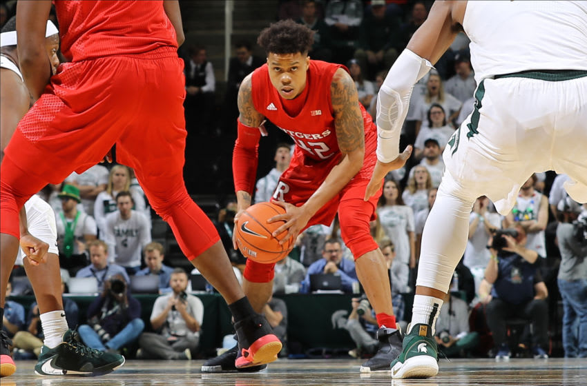 EAST LANSING, MI - DECEMBER 08: Jacob Young #42 of the Rutgers Scarlet Knights handles the ball in the the second half against the Michigan State Spartans at the Breslin Center on December 8, 2019 in East Lansing, Michigan. (Photo by Rey Del Rio/Getty Images)