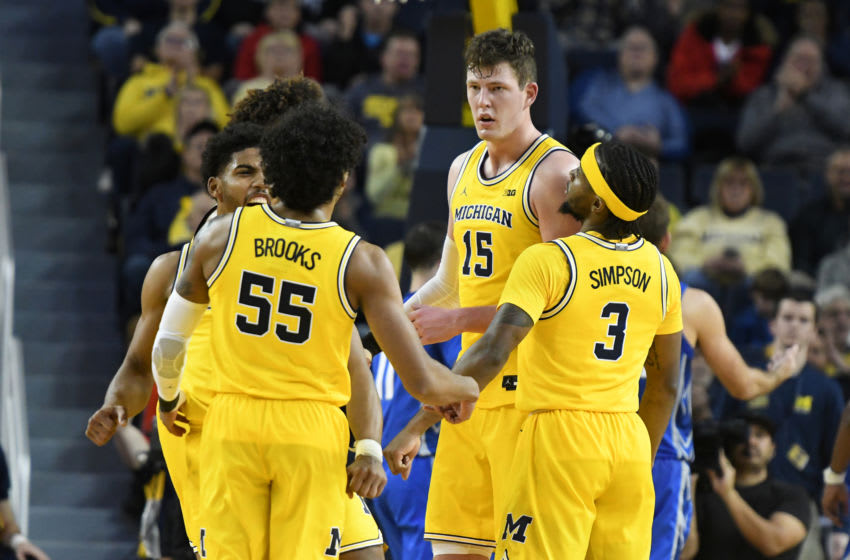 ANN ARBOR, MI - NOVEMBER 12: Jon Teske #15 of the Michigan Wolverines talks to his teammates during a basketball game against the Creighton Bluejays at the Crisler Center on November 12, 2019 in Ann Arbor, Michigan. (Photo by Mitchell Layton/Getty Images)