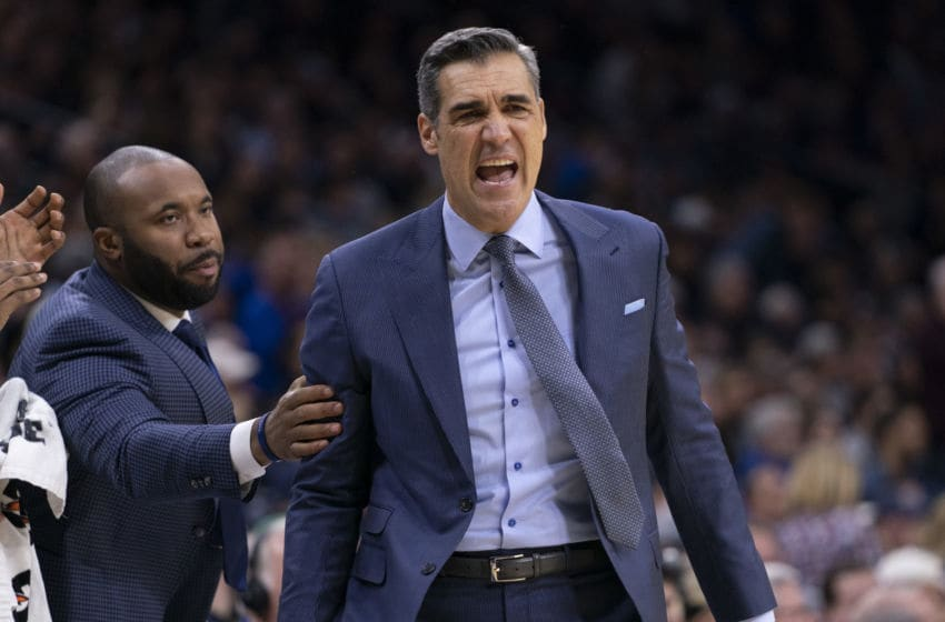 PHILADELPHIA, PA - DECEMBER 21: Head coach Jay Wright of the Villanova Wildcats reacts against the Kansas Jayhawks in the first half at the Wells Fargo Center on December 21, 2019 in Philadelphia, Pennsylvania. (Photo by Mitchell Leff/Getty Images)