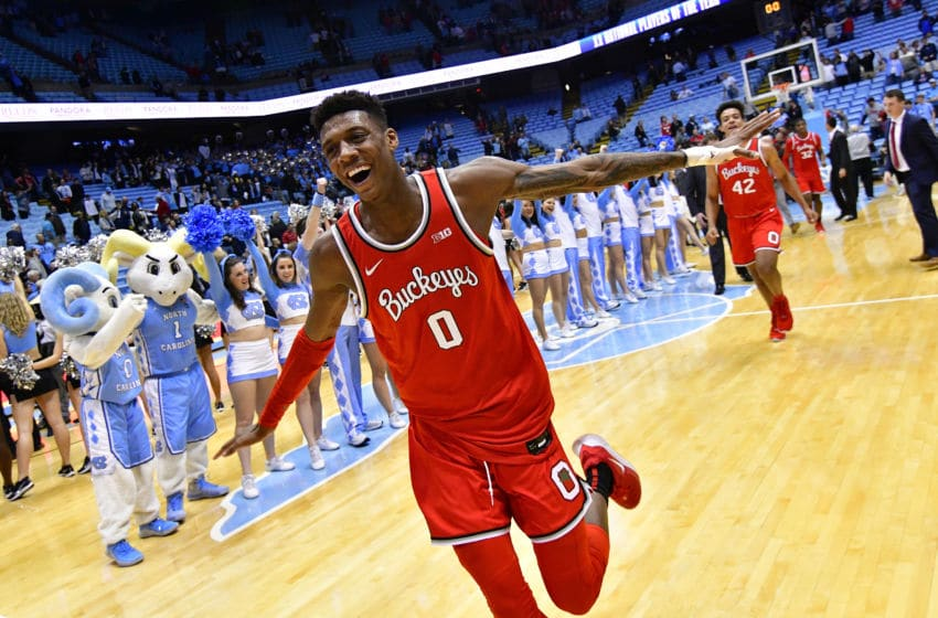 CHAPEL HILL, NORTH CAROLINA - DECEMBER 04: Alonzo Gaffney #0 of the Ohio State Buckeyes celebrates as he leaves the floor after a win against the North Carolina Tar Heels at the Dean Smith Center on December 04, 2019 in Chapel Hill, North Carolina. Ohio State won 74-49. (Photo by Grant Halverson/Getty Images)