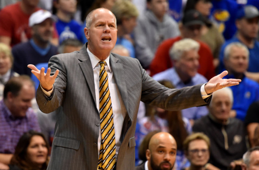 LAWRENCE, KANSAS - DECEMBER 07: Head coach Tad Boyle of the Colorado Buffaloes reacts to a foul call against his team, during their game with the Kansas Jayhawks in the second half at Allen Fieldhouse on December 07, 2019 in Lawrence, Kansas. (Photo by Ed Zurga/Getty Images)