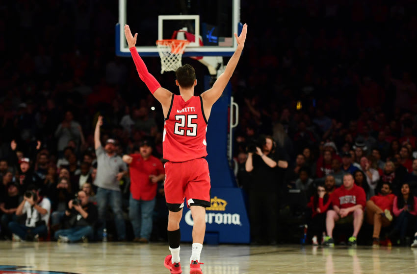 NEW YORK, NEW YORK - DECEMBER 10: Davide Moretti #25 of the Texas Tech Red Raiders reacts to their 70-57 win over the Louisville Cardinals at Madison Square Garden on December 10, 2019 in New York City. (Photo by Emilee Chinn/Getty Images)