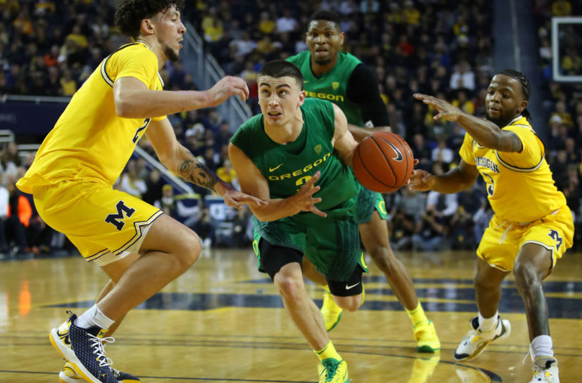 ANN ARBOR, MICHIGAN - DECEMBER 14: Payton Pritchard #3 of the Oregon Ducks plays against the Michigan Wolverines at Crisler Arena on December 14, 2019 in Ann Arbor, Michigan. Oregon won the game 71-70 in overtime. (Photo by Gregory Shamus/Getty Images)