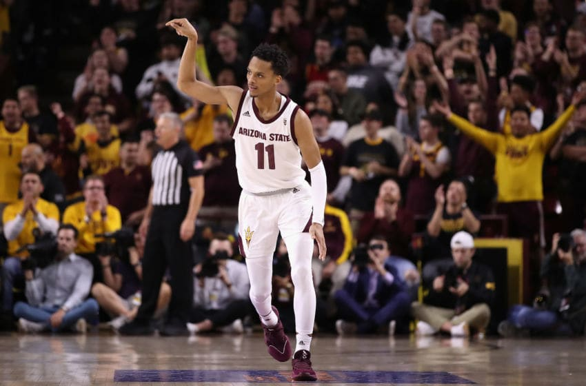 TEMPE, ARIZONA - DECEMBER 14: Alonzo Verge Jr. #11 of the Arizona State Sun Devils reacts to a three point shot against the Georgia Bulldogs during the first half of the NCAAB game at Desert Financial Arena on December 14, 2019 in Tempe, Arizona. The Sun Devils defeated the Bulldogs 79-59. (Photo by Christian Petersen/Getty Images)