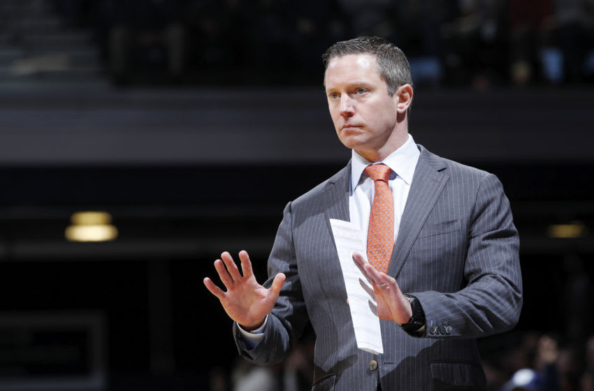 INDIANAPOLIS, IN - DECEMBER 07: Head coach Mike White of the Florida Gators looks on during a game against the Butler Bulldogs at Hinkle Fieldhouse on December 7, 2019 in Indianapolis, Indiana. Butler defeated Florida 76-62. (Photo by Joe Robbins/Getty Images)