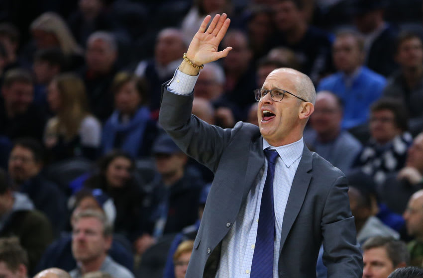 PHILADELPHIA, PA - JANUARY 18: Head coach Dan Hurley of the Connecticut Huskies reacts against the Villanova Wildcats during the second half of a college basketball game at Wells Fargo Center on January 18, 2020 in Philadelphia, Pennsylvania. Villanova defeated Connecticut 61-55. (Photo by Rich Schultz/Getty Images)
