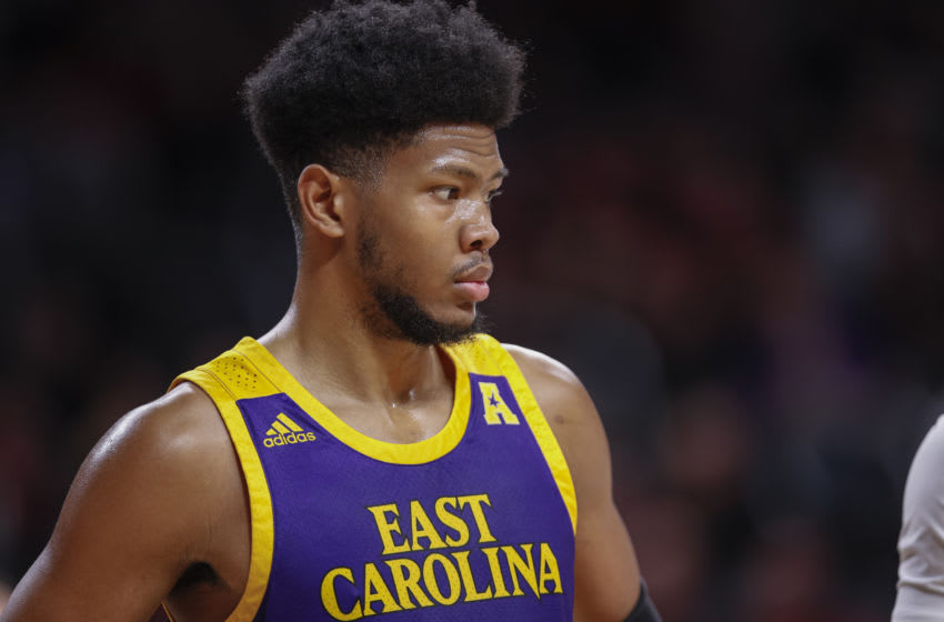 CINCINNATI, OH - JANUARY 19: Jayden Gardner #1 of the East Carolina Pirates is seen during the game against the Cincinnati Bearcats at Fifth Third Arena on January 19, 2020 in Cincinnati, Ohio. (Photo by Michael Hickey/Getty Images)