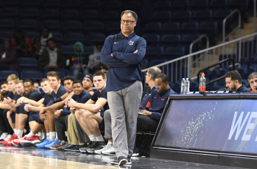 WASHINGTON, DC - DECEMBER 20: Head coach Ritchie McKay of the Liberty Flames looks on during a first round game of the DC Holiday Hoops Fest basketball game against the Towson Tigers at the Entertainment & Sports Arena on December 20, 2019 in Washington, DC. (Photo by Mitchell Layton/Getty Images)