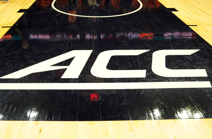 CHARLOTTESVILLE, VA - DECEMBER 22: The ACC Logo on the floor before a college basketball game between the Virginia Cavaliers and the South Carolina Gamecocks at John Paul Jones Arena on December 22, 2019 in Charlottesville, Virginia. (Photo by Mitchell Layton/Getty Images) *** Local Caption ***