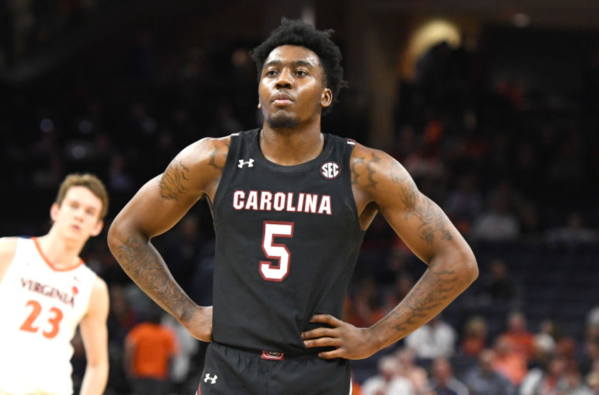 CHARLOTTESVILLE, VA - DECEMBER 22: Jermaine Couisnard #5 of the South Carolina Gamecocks looks on during a college basketball game against the Virginia Cavaliers at John Paul Jones Arena on December 22, 2019 in Charlottesville, Virginia. (Photo by Mitchell Layton/Getty Images)