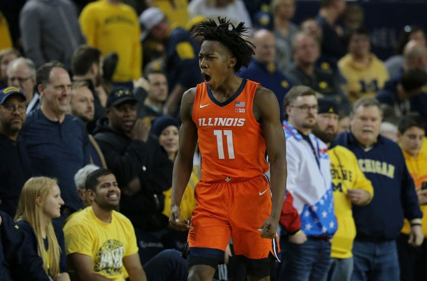 ANN ARBOR, MI - JANUARY 25: Ayo Dosunmu #11 of the Illinois Fighting Illini celebrates after making the game winning basket again Michigan Wolverines at Crisler Center on January 25, 2020 in Ann Arbor, Michigan. Illinois defeated Michigan 64-62. (Photo by Leon Halip/Getty Images)