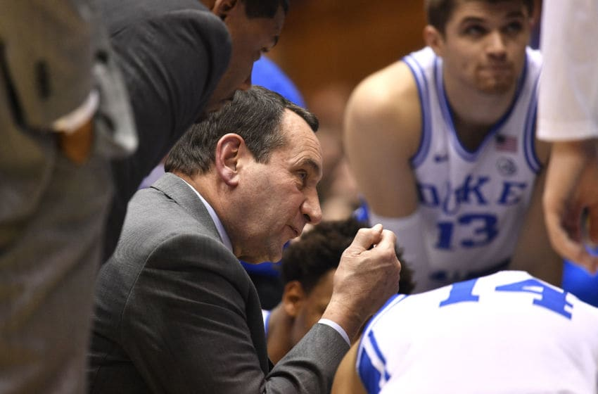 DURHAM, NORTH CAROLINA - DECEMBER 31: Head coach Mike Krzyzewski of the Duke Blue Devils huddles with his team during the second half of their game against the Boston College Eagles at Cameron Indoor Stadium on December 31, 2019 in Durham, North Carolina. Duke won 88-49. (Photo by Grant Halverson/Getty Images)
