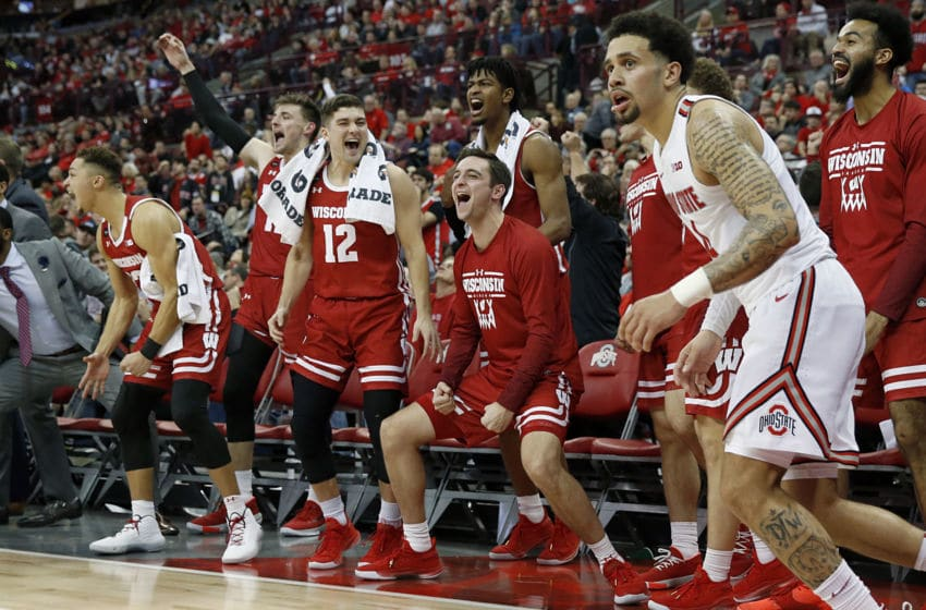 COLUMBUS, OHIO - JANUARY 03: The Wisconsin Badgers bench celebrates after a made three pointer during the second half at Value City Arena on January 03, 2020 in Columbus, Ohio. (Photo by Justin Casterline/Getty Images)