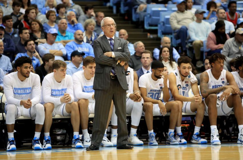 CHAPEL HILL, NORTH CAROLINA - JANUARY 04: Head coach Roy Williams of the North Carolina Tar Heels watches on against the Georgia Tech Yellow Jackets during their game at Dean Smith Center on January 04, 2020 in Chapel Hill, North Carolina. (Photo by Streeter Lecka/Getty Images)