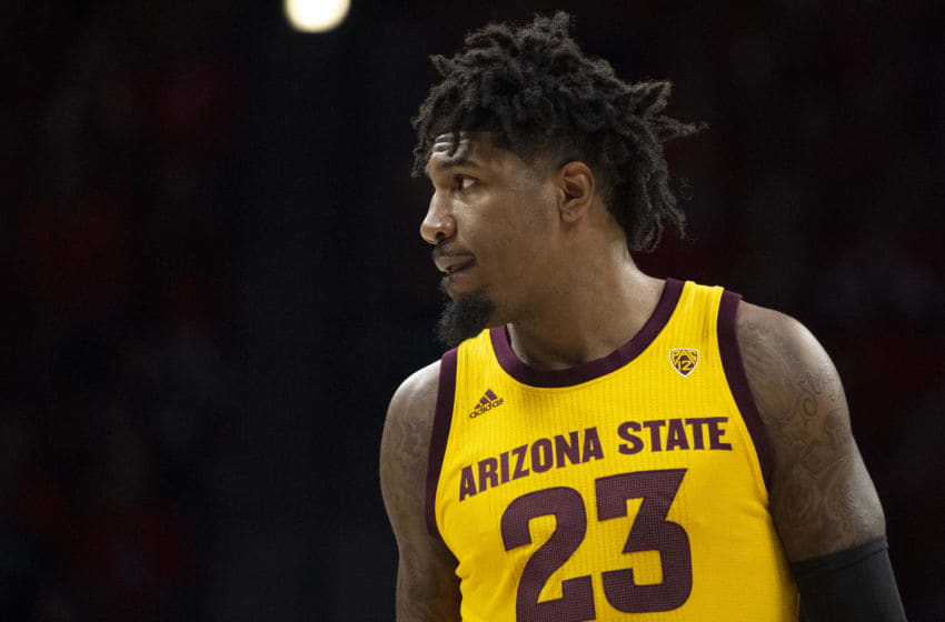 TUCSON, ARIZONA - JANUARY 04: Romello White #23 of the Arizona State Sun Devils looks on during the game against the Arizona Wildcats at McKale Center on January 04, 2020 in Tucson, Arizona. The Arizona Wildcats won 75-47. (Photo by Jennifer Stewart/Getty Images)