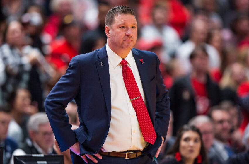 LUBBOCK, TEXAS - JANUARY 07: Head coach Chris Beard of the Texas Tech Red Raiders looks on during the second half of the college basketball game against the Baylor Bears on January 07, 2020 at United Supermarkets Arena in Lubbock, Texas. (Photo by John E. Moore III/Getty Images)