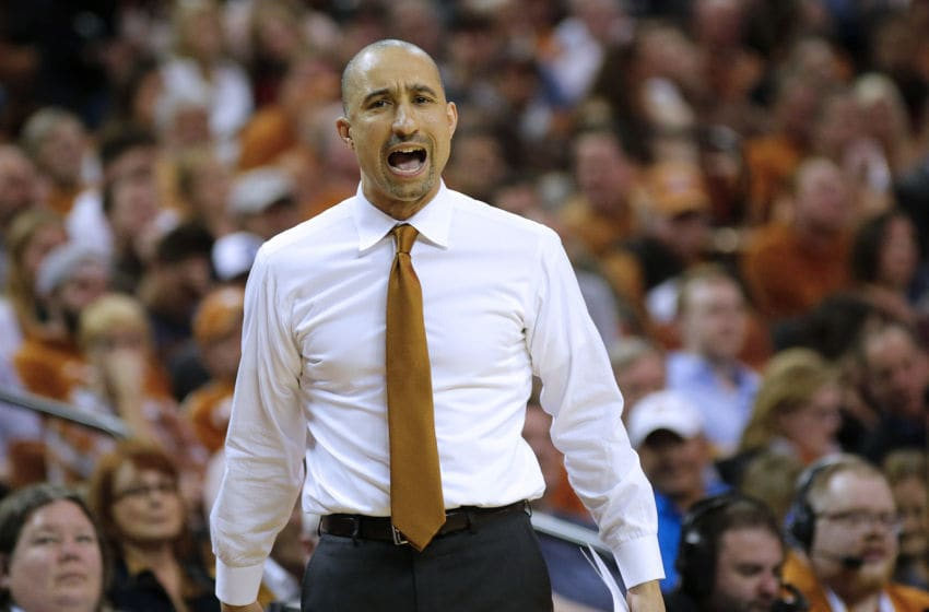 AUSTIN, TEXAS - JANUARY 08: Head coach Shaka Smart of the Texas Longhorns reacts as his team plays the Oklahoma Sooners at The Frank Erwin Center on January 08, 2020 in Austin, Texas. (Photo by Chris Covatta/Getty Images)