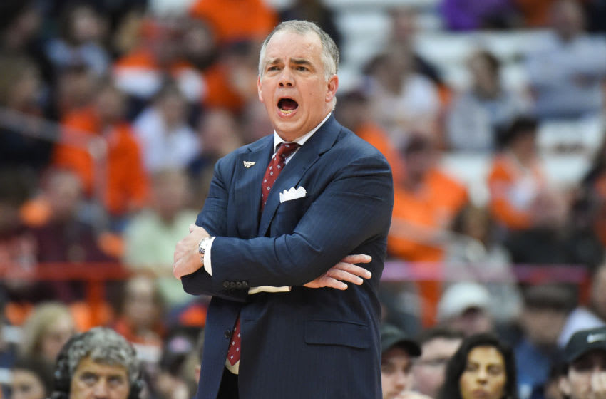 SYRACUSE, NY - JANUARY 07: Head coach Mike Young of the Virginia Tech Hokies reacts to a play against the Syracuse Orange during the first half at the Carrier Dome on January 7, 2020 in Syracuse, New York. (Photo by Rich Barnes/Getty Images)