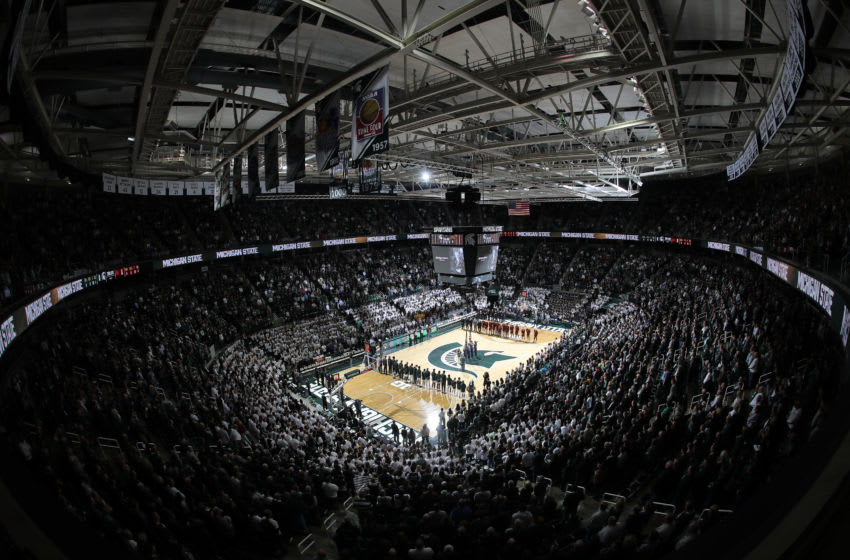 EAST LANSING, MI - JANUARY 09: A general view of of the Breslin Center during the national anthem before a game between the Minnesota Golden Gophers and the Michigan State Spartans on January 9, 2020 in East Lansing, Michigan. (Photo by Rey Del Rio/Getty Images)
