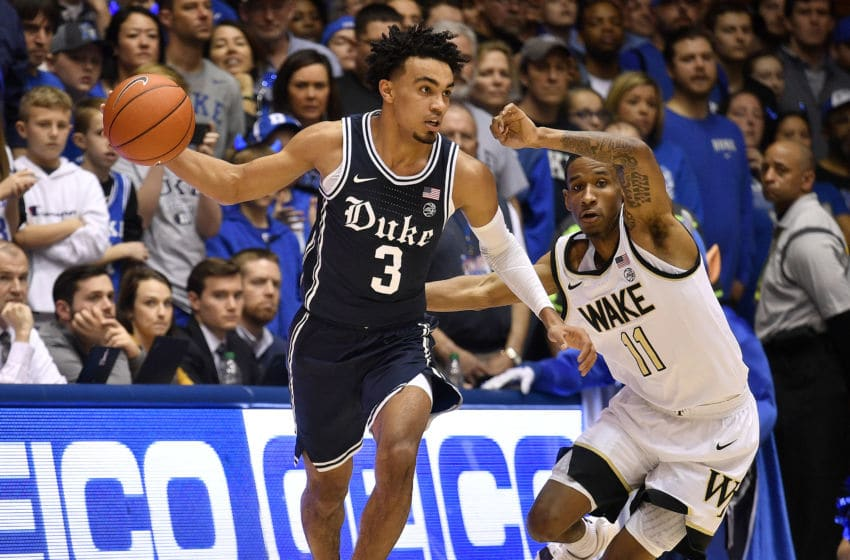 DURHAM, NORTH CAROLINA - JANUARY 11: Tre Jones #3 of the Duke Blue Devils drives against Torry Johnson #11 of the Wake Forest Demon Deacons during the first half of their game at Cameron Indoor Stadium on January 11, 2020 in Durham, North Carolina. (Photo by Grant Halverson/Getty Images)