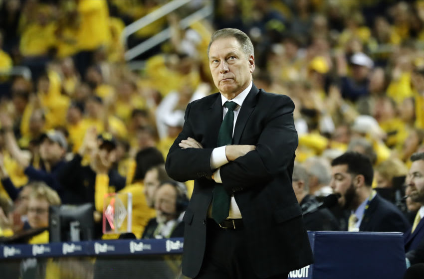 ANN ARBOR, MI - FEBRUARY 08: Head coach Tom Izzo of the Michigan State Spartans looks on in the first half of the game against the Michigan Wolverines at Crisler Arena on February 8, 2020 in Ann Arbor, Michigan. (Photo by Rey Del Rio/Getty Images)