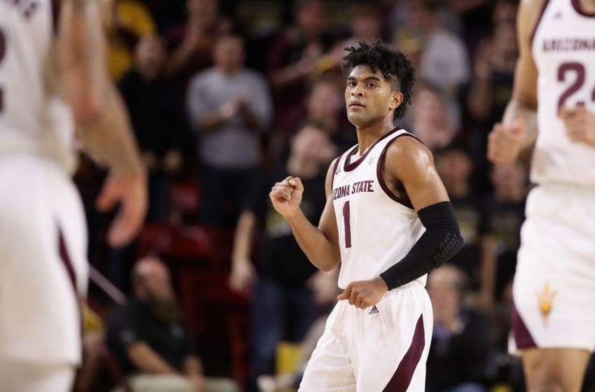 TEMPE, ARIZONA - DECEMBER 14: Remy Martin #1 of the Arizona State Sun Devils reacts against the Georgia Bulldogs during the second half of the NCAAB game at Desert Financial Arena on December 14, 2019 in Tempe, Arizona. The Sun Devils defeated the Bulldogs 79-59. (Photo by Christian Petersen/Getty Images)