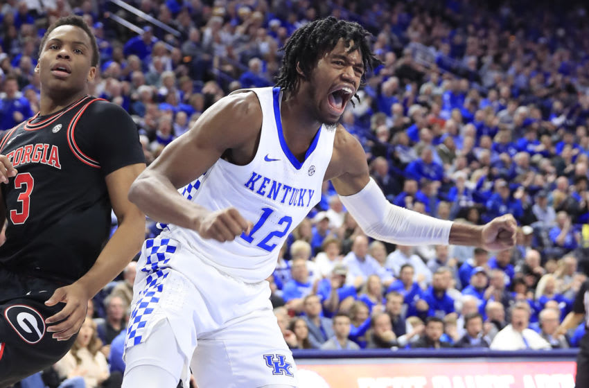 LEXINGTON, KENTUCKY - JANUARY 21: Keion Brooks Jr #12 of the Kentucky Wildcats celebrates in the game against the Georgia Bulldogs at Rupp Arena on January 21, 2020 in Lexington, Kentucky. (Photo by Andy Lyons/Getty Images)