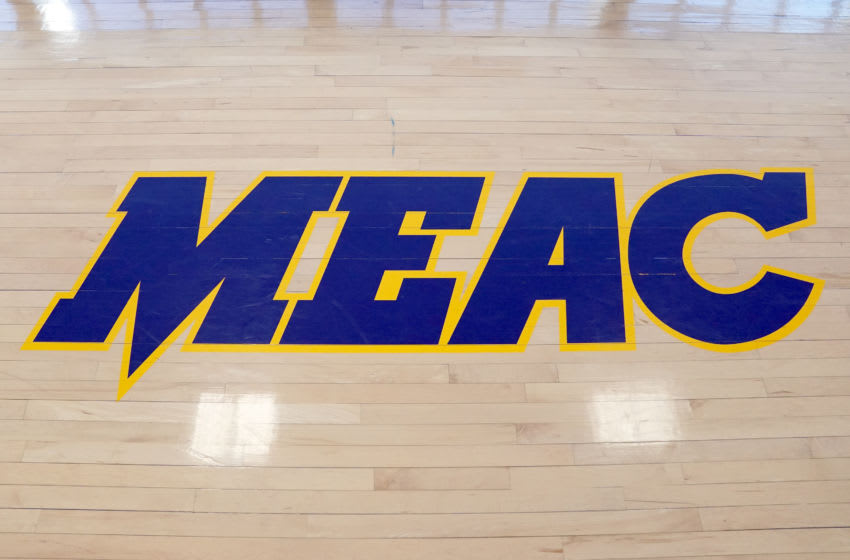 WASHINGTON, DC - JANUARY 20: The MEAC logo on the floor before a college basketball game between the Yale Bulldogs and the Howard Bison at Burr Gymnasium on January 20, 2020 in Washington, DC. (Photo by Mitchell Layton/Getty Images)