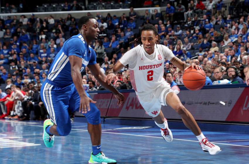MEMPHIS, TN - FEBRUARY 22: Caleb Mills #2 of the Houston Cougars dribbles the ball against Alex Lomax #2 of the Memphis Tigers during a game at FedExForum on February 22, 2020 in Memphis, Tennessee. Memphis defeated Houston 60-59. (Photo by Joe Murphy/Getty Images)