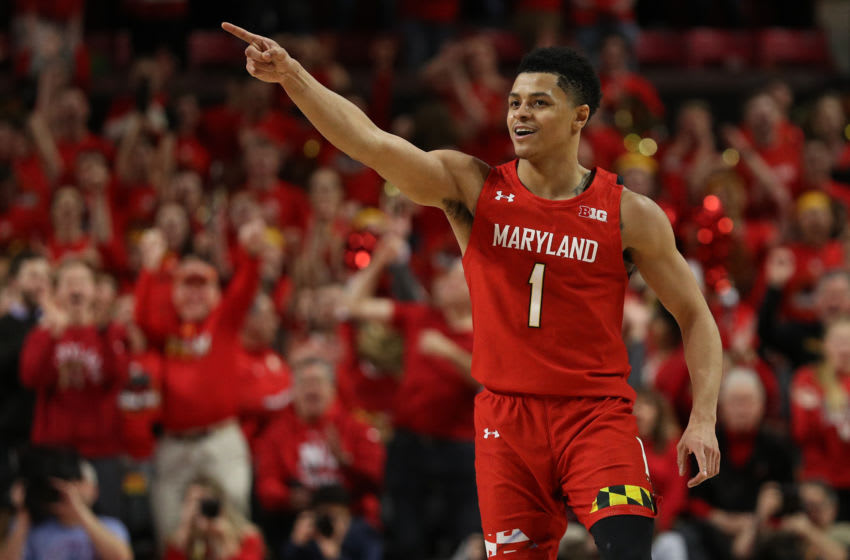 COLLEGE PARK, MARYLAND - JANUARY 30: Anthony Cowan Jr. #1 of the Maryland Terrapins celebrates against the Iowa Hawkeyes during the second half at Xfinity Center on January 30, 2020 in College Park, Maryland. (Photo by Patrick Smith/Getty Images)