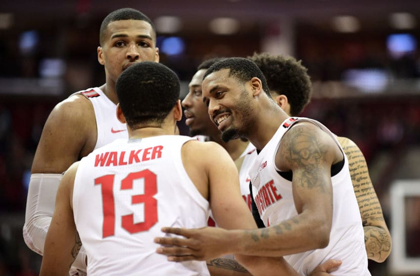 COLUMBUS, OHIO - FEBRUARY 01: Kaleb Wesson #34 talks to CJ Walker #13 of the Ohio State Buckeyes during the second half of their game against the Indiana Hoosiers at Value City Arena on February 01, 2020 in Columbus, Ohio. (Photo by Emilee Chinn/Getty Images)