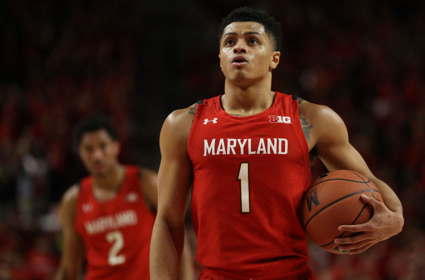 COLLEGE PARK, MARYLAND - JANUARY 30: Anthony Cowan Jr. #1 of the Maryland Terrapins in action against the Iowa Hawkeyes during at Xfinity Center on January 30, 2020 in College Park, Maryland. (Photo by Patrick Smith/Getty Images)