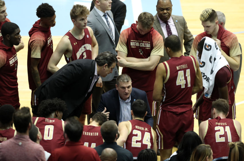 CHAPEL HILL, NC - FEBRUARY 1: Head coach Jim Christian of Boston College talks to his team during a timeout during a game between Boston College and North Carolina at Dean E. Smith Center on February 1, 2020 in Chapel Hill, North Carolina. (Photo by Andy Mead/ISI Photos/Getty Images)