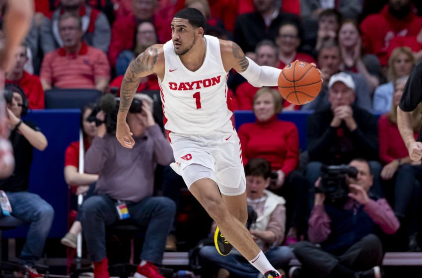 DAYTON, OH - FEBRUARY 28: Obi Toppin #1 of the Dayton Flyers brings the ball up court during the game against the Davidson Wildcats at UD Arena on February 28, 2020 in Dayton, Ohio. (Photo by Michael Hickey/Getty Images)