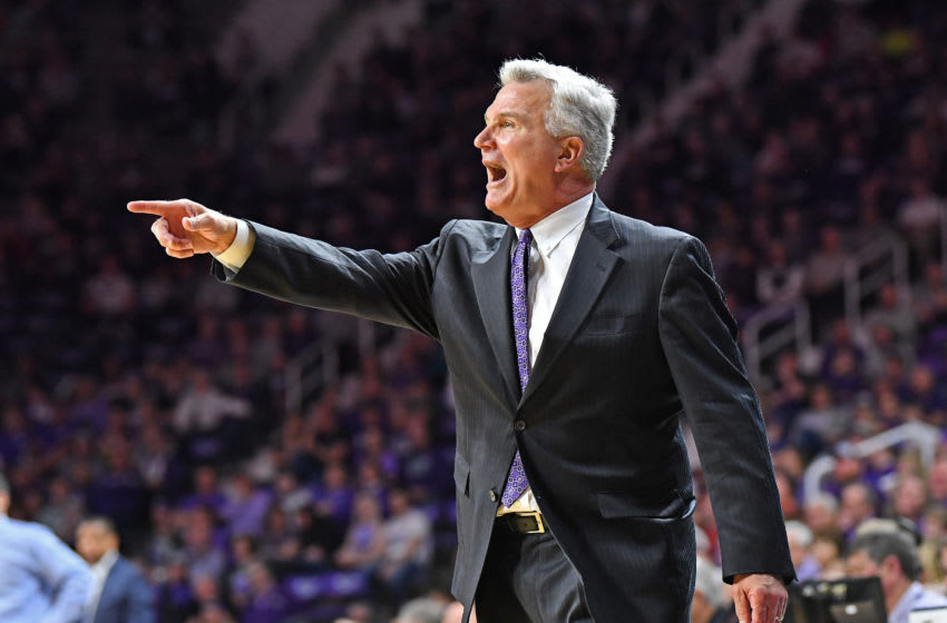 MANHATTAN, KS - MARCH 07: Head coach Bruce Weber of the Kansas State Wildcats calls out instructions during the first half against the Iowa State Cyclones at Bramlage Coliseum on March 7, 2020 in Manhattan, Kansas. (Photo by Peter G. Aiken/Getty Images)