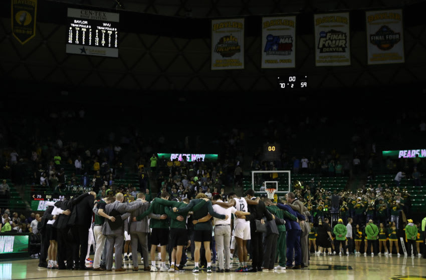 WACO, TEXAS - FEBRUARY 15: The Baylor Bears huddle after a 70-59 win against the West Virginia Mountaineers at Ferrell Center on February 15, 2020 in Waco, Texas. (Photo by Ronald Martinez/Getty Images)