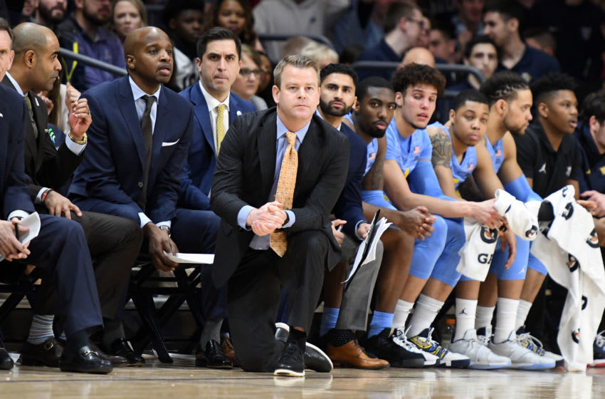 VILLANOVA, PA - FEBRUARY 12: Head coach Steve Wojciechowski of the Marquette Golden Eagles looks on during a college basketball game against the Villanova Wildcats at the Finneran Pavilion on February 12, 2020 in Villanova, Pennsylvania. (Photo by Mitchell Layton/Getty Images)