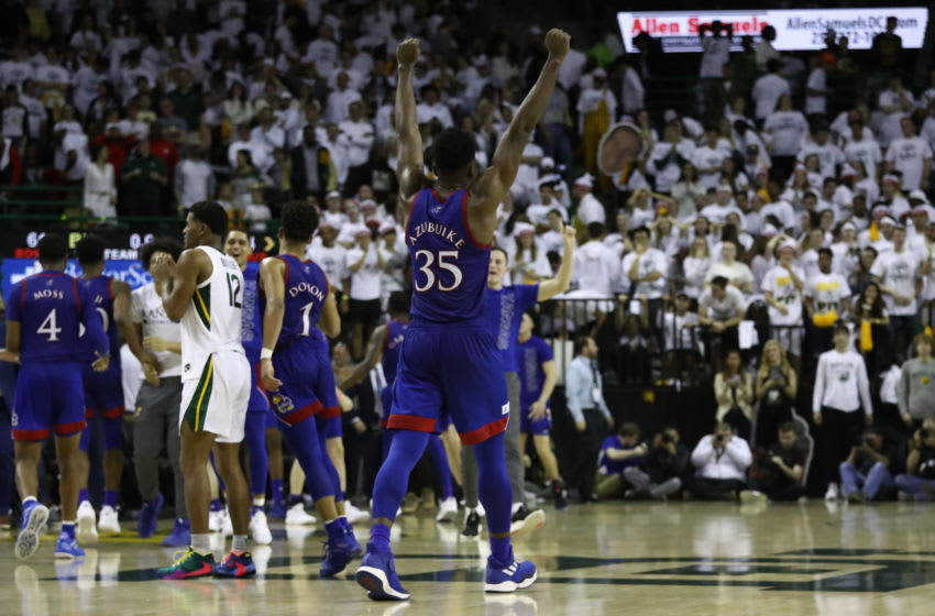 WACO, TEXAS - FEBRUARY 22: Udoka Azubuike #35 of the Kansas Jayhawks celebrates a 64-61 win against the Baylor Bears at Ferrell Center on February 22, 2020 in Waco, Texas. (Photo by Ronald Martinez/Getty Images)