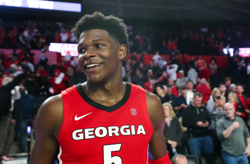 ATHENS, GA - FEBRUARY 19: Anthony Edwards #5 of the Georgia Bulldogs looks on during a game against the Auburn Tigers at Stegeman Coliseum on February 19, 2020 in Athens, Georgia. (Photo by Carmen Mandato/Getty Images)