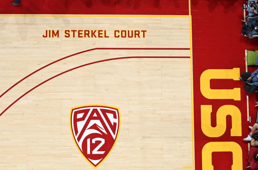 LOS ANGELES, CA - FEBRUARY 27: General view of the Jim Sterkel court at Galen Center during the game between the USC Trojans and the Arizona Wildcats on February 27, 2020 in Los Angeles, California. (Photo by Jayne Kamin-Oncea/Getty Images)