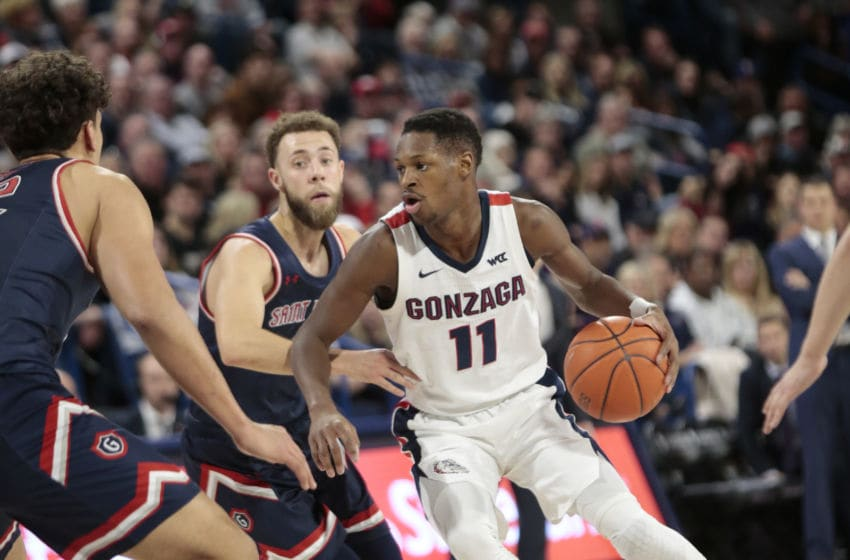 SPOKANE, WASHINGTON - FEBRUARY 29: Joel Ayayi #11 of the Gonzaga Bulldogs controls the ball against the Saint Mary's Gaels in the second half at McCarthey Athletic Center on February 29, 2020 in Spokane, Washington. Gonzaga defeats Saint Mary's 86-76. (Photo by William Mancebo/Getty Images)