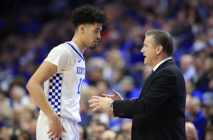 LEXINGTON, KENTUCKY - MARCH 03: John Calipari the head coach of the Kentucky Wildcats gives instructions to Johnny Juzang #10 against the Tennessee Volunteers at Rupp Arena on March 03, 2020 in Lexington, Kentucky. (Photo by Andy Lyons/Getty Images)