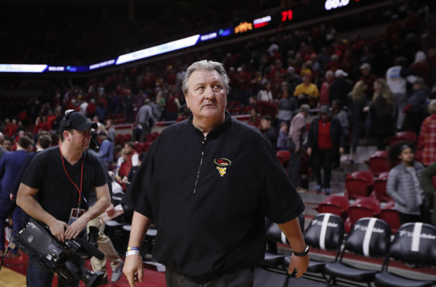 AMES, IA - MARCH 03: Head coach Bob Huggins of the West Virginia Mountaineers walks off the court after winning 77-71 over the Iowa State Cyclones at Hilton Coliseum on March 3, 2020 in Ames, Iowa. The West Virginia Mountaineers won 77-71 over the Iowa State Cyclones. (Photo by David K Purdy/Getty Images)