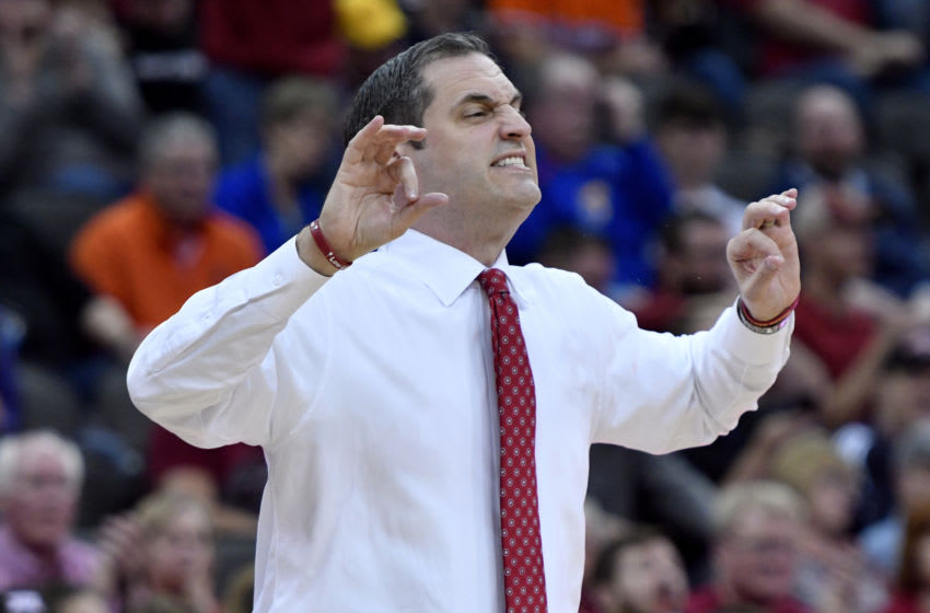 KANSAS CITY, MISSOURI - MARCH 11: Head coach Steve Prohm of the Iowa State Cyclones directs his team against the Oklahoma State Cowboys in the first half during the first round of the Big 12 Basketball Tournament at Sprint Center on March 11, 2020 in Kansas City, Missouri. (Photo by Ed Zurga/Getty Images)